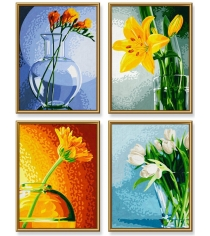 Раскраска по номерам Schipper 4 картины Цветы 9340529