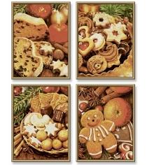 Раскраска по номерам Schipper 4 картины Рождественские пряники 9340702