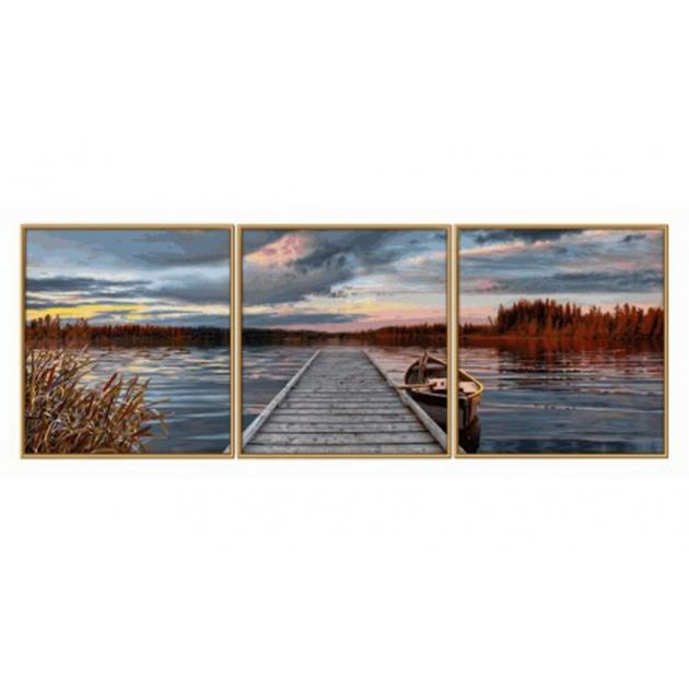 Раскраска по номерам Schipper Триптих Восход на озере ...