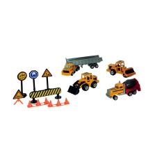 Набор строительной техники и дорожные знаки Majorette 205797