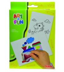 Набор для рисования цветным песком Simba Art Fun динозавр и паровозик 6330378...