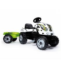 Детский педальный трактор Smoby XL с прицепом пятнистый 710113