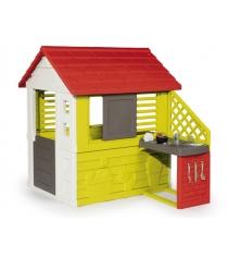 Игровой домик Smoby Красный с кухней 810702