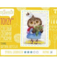 Набор для картин шерстью Toyzy Сова ученица TZ-P035...