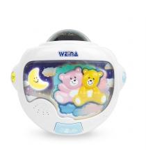 Ночник Двойняшки Тедди с проектором Weina 2129