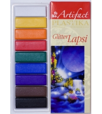 Полимерная глина Artifact lapsi glitter 9 классических цветов с блестками 7109-78