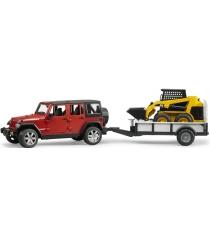 Jeep Wrangler Unlimited Rubicon c платформой и погрузчиком CAT Bruder 02-925