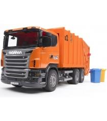 Мусоровоз Scania Bruder и набор мусорных баков 03-560 + 02-607