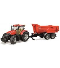 Трактор Case IH Optum 300 CVX с прицепом Krampe Tandem-Halfpipe Bruder 03-199
