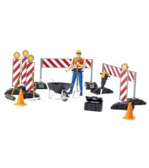 Игровой набор Bruder знаки дорожных работ с фигуркой рабочего 62-000