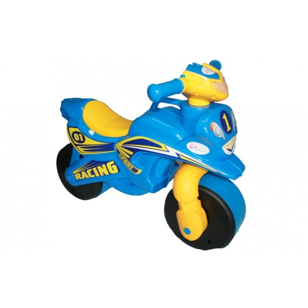 Каталка-толокар Doloni Байк (0139) со звуковыми эффектами голубой желтый