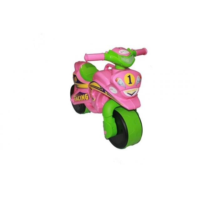 Каталка-толокар Doloni Байк (0139) со звуковыми эффектами розовый зеленый
