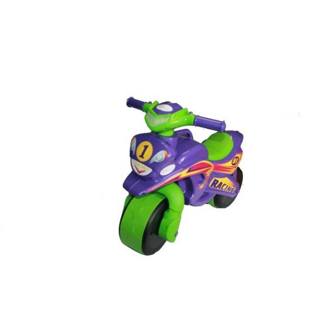 Каталка-толокар Doloni Байк (0139) со звуковыми эффектами фиолетовый зеленый