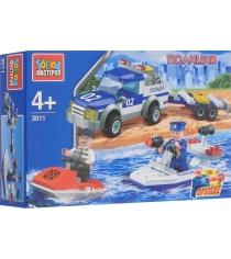 Детский конструктор Город Мастеров Полиция пикап с лодкой с фигурками KK-3011-R
