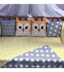 Комплект в кроватку Incanto 10 предметов Совята желтый