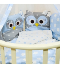 Комплект в кроватку Incanto 10 предметов Совята голубой