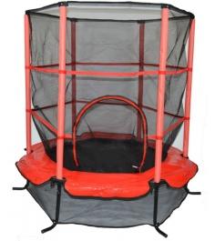 Детский батут с сеткой 140 см красный