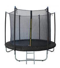 Батут с лестницей и внутренней сеткой 180 см черный