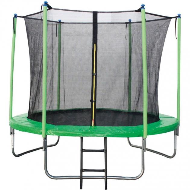 Батут с лестницей и внутренней сеткой 244 см зеленый