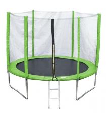 Батут с лестницей и внешней сеткой 180 см зеленый