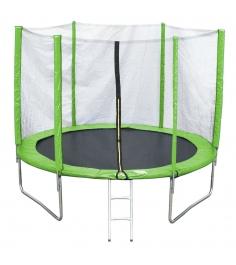 Батут с лестницей и внешней сеткой 180 см зеленый...
