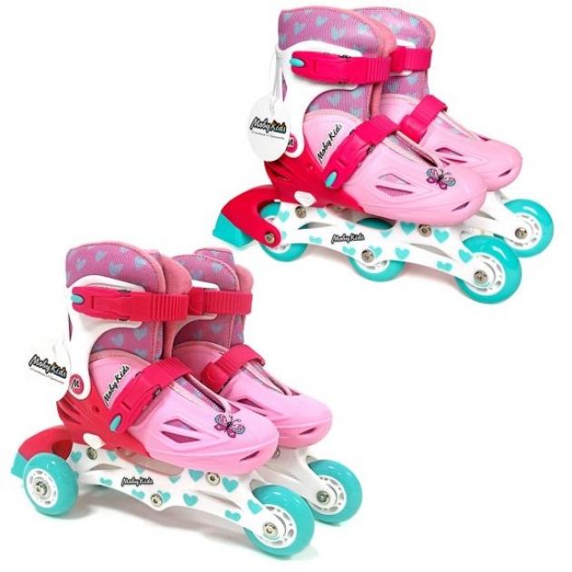Коньки роликовые Moby Kids 2в1 р.26-29 розовые