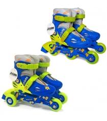Коньки роликовые Moby Kids 2в1 размер 26-29 сине-зеленые