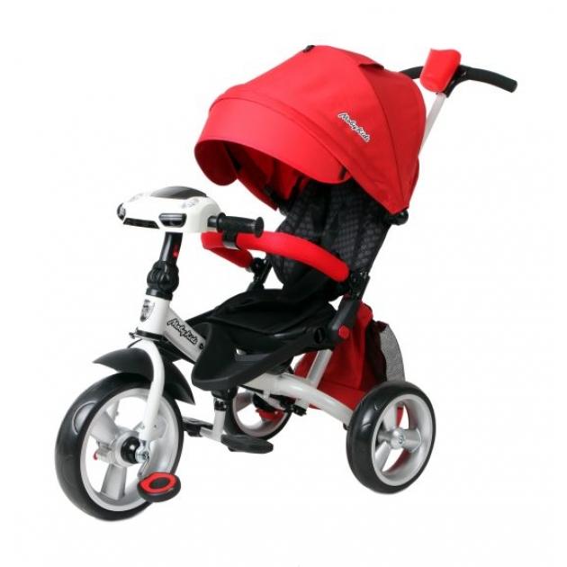 Трёхколёсный велосипед Moby Kids с разворотным сиденьем Leader 360° EVA Car красный