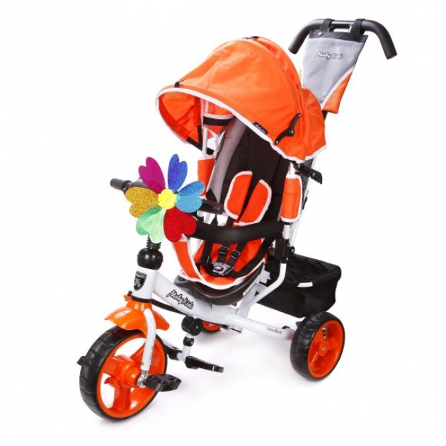 Детский трёхколёсный велосипед Moby Kids Comfort 10х8 EVA оранжевый