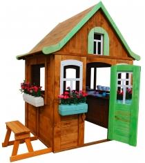 Детский домик Можга Цветочный c кухней и цветочницами