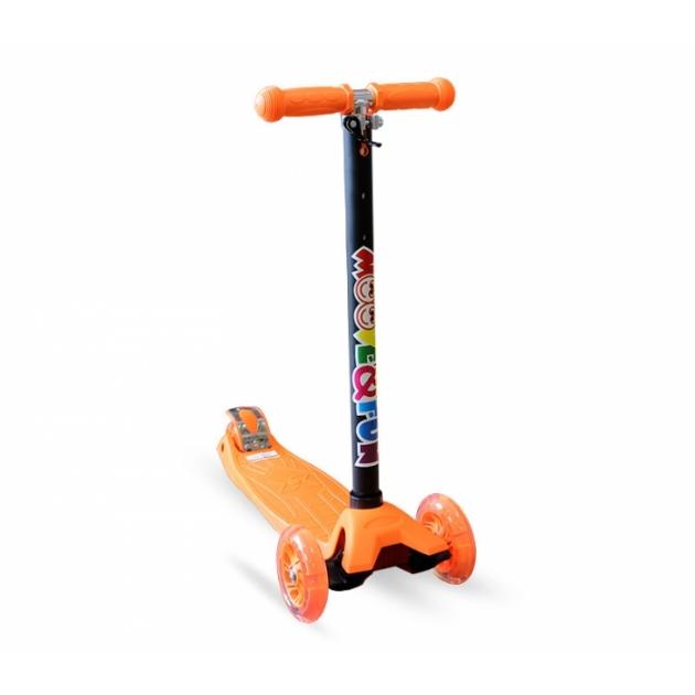 Самокат четырехколесный Moove&Fun MAXI LED оранжевый