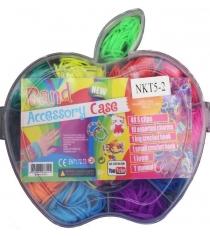 Резиночки для плетения Colorful bands набор для рукоделия яблочко 70 с крючком артикул NR009