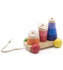 Деревянная развивающая игрушка МДИ Пирамидка-каталка Д355