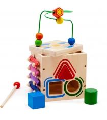 Деревянная развивающая игрушка МДИ Куб-лабиринт 5 в 1 Д376