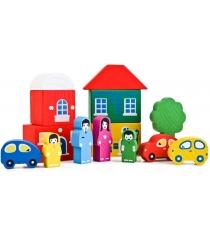 Деревянный конструктор Томик Цветной городок 14 деталей зеленый 8688-4