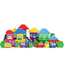 Деревянный конструктор Томик Цветной городок большой 41 деталей 8688-8