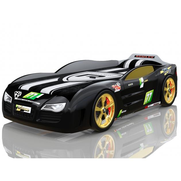Кровать машина 3D Romack Renner 2 черный с колесами