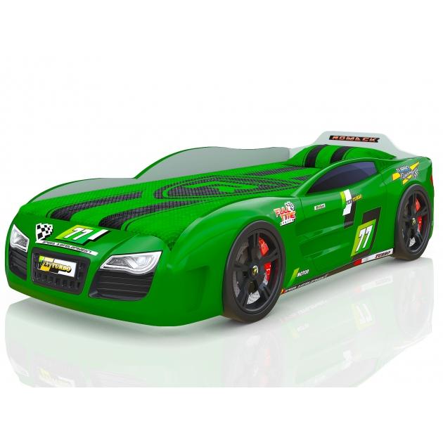 Кровать машина 3D Renner 2 с подсветкой фар дна и колесами зеленый