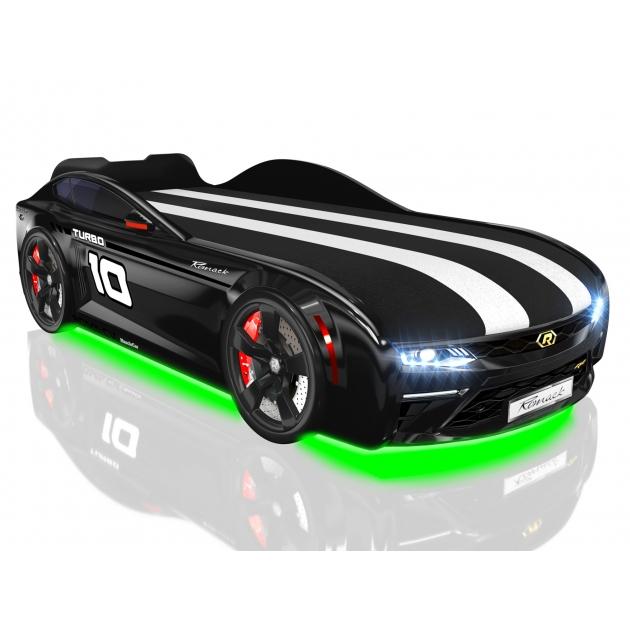 Кровать машина Energy Black с подъемным механизмом и подсветка