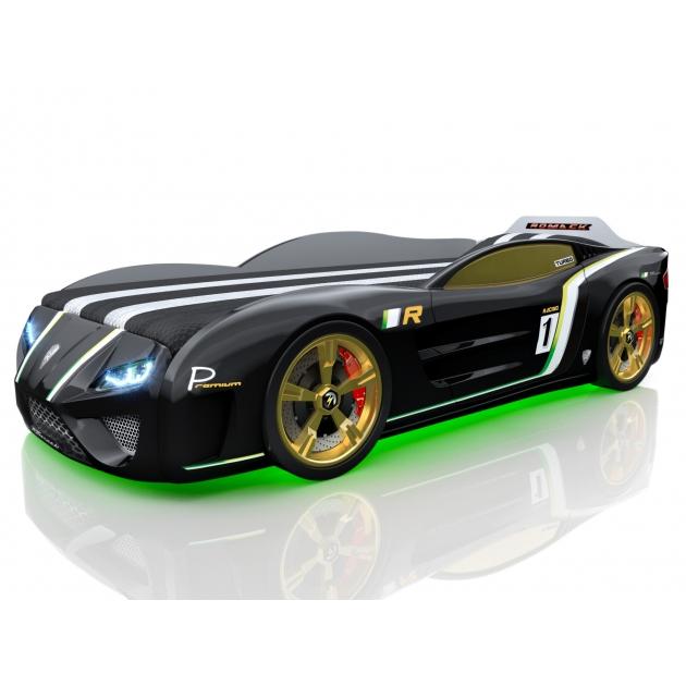 Кровать машина 3D SportLine черный с подсветкой фар и дна и колесами
