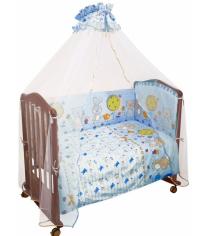 Комплект в кроватку 3 предмета Сонный гномик Акварель 306 голубой