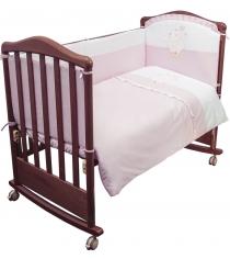 Комплект в кроватку 3 предмета Сонный гномик Пушистик розовый