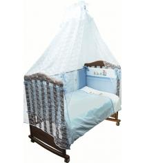 Комплект в кроватку 3 предмета Сонный гномик Паровозик 372 голубой