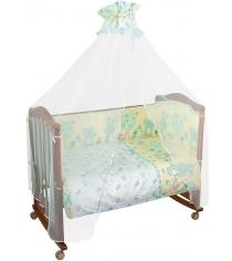 Комплект в кроватку 7 предметов Сонный гномик Акварель 706 бирюзовый