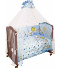 Комплект в кроватку 7 предметов Сонный гномик Акварель 706 голубой
