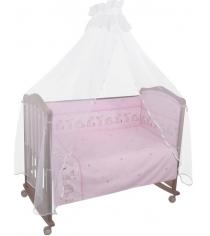 Комплект в кроватку 7 предметов Сонный гномик Оленята 727 розовый