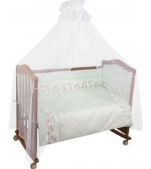 Комплект в кроватку 7 предметов Сонный гномик Оленята 727 салатовый