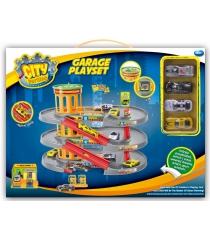 Игровой набор Dave toy гараж с 4 машинками 32035