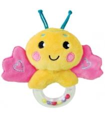 Мягкая игрушка погремушка Жирафики Бабочка розовая 939471