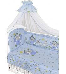 Комплект в кроватку 7 предметов Золотой Гусь Лошадки голубой